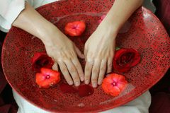 Spa scene. With woman's hands bathed in water with flowers Royalty Free Stock Photos