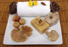 Spa Scene. Dry mushroom, seeds, natural olive oil soap, roses, and towel Stock Image