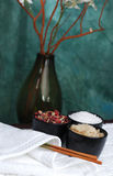Spa Scene. Spa ingredients in bowls Stock Photos