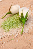 Spa scene. Of white rose and bath salts Stock Photography