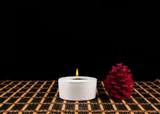 Spa  scene - aromatherapy candle and flower Stock Image