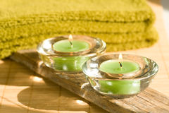 Spa scene with aromatic candles Stock Photos