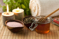 Spa scene with bath ingredients Royalty Free Stock Images
