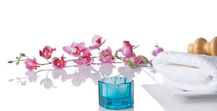 Spa Scene With Blue Glass Candle Holder Royalty Free Stock Image