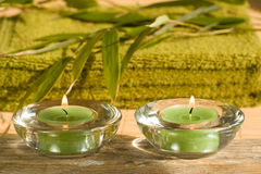 Spa scene with candles Royalty Free Stock Image
