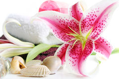 Spa Scene with Lilies stock photography