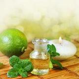 Spa scene with massage oil Stock Photo
