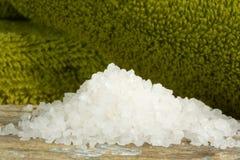 Spa scene with white bath salts Royalty Free Stock Photos
