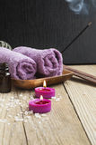 Spa.Scented Candles, Essential Oil and Towels Royalty Free Stock Image