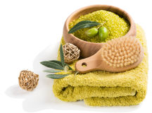Spa.Scented olive sea salt. Royalty Free Stock Image