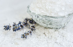 Spa, Scented Sea salt, Selective focus. Close up Royalty Free Stock Images