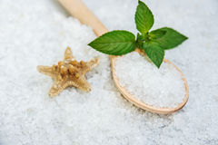 Spa, Scented Sea salt, Selective focus Royalty Free Stock Image