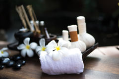 Spa scrub treatment and massage, Thailand, soft focus Royalty Free Stock Image