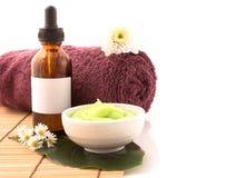Spa scrub and treatment wiht salt, aloe vera on wood white backg Royalty Free Stock Photography