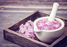 Spa. Sea Salt And Lilac Flowers Royalty Free Stock Photography