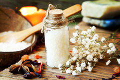 Spa Sea Salt in Bottle Stock Images