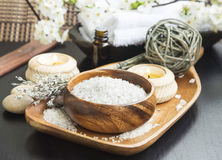 Spa Sea Salt setting with Lavender, Aromatherapy Candles and Ess Royalty Free Stock Image