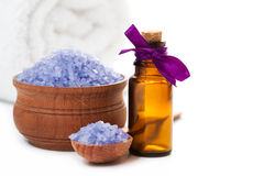 Spa with sea salt and towel. isolated Royalty Free Stock Photography