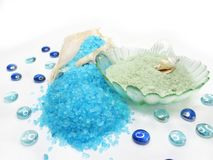 Spa sea shells and bathing salt Royalty Free Stock Photo