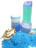 Spa sea shells salt shampoo shower gel and creme Stock Photography