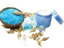Spa sea shells salt shampoo shower gel and creme Stock Image
