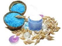 Spa sea shells salt shampoo shower gel and creme stock images
