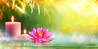 Spa - Serenity And Meditation With Candles And Waterlily. In Zen Garden Royalty Free Stock Photo