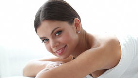 Spa session. Woman smiling at spa session stock video