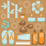 Spa set. A cute vector collection of spa icons Stock Photo