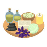 Spa set accessories on wooden tray. Aroma oils, pebbles, soap, bath bomb, sea salt and candles. Set for relax spa procedures Royalty Free Stock Photography