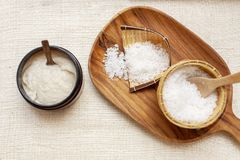 Spa Set. Aroma Salt. Handmade Salt Scrub. Thailand. Toiletries s royalty free stock photography