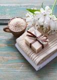 Spa set: bar of handmade natural soap Royalty Free Stock Photos