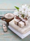 Spa set: bar of handmade natural soap Royalty Free Stock Images