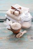Spa set: bar of handmade natural soap Royalty Free Stock Photo