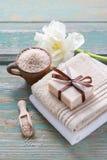 Spa set: bar of handmade natural soap Stock Photo