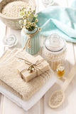 Spa set: bar of natural handmade soap, sea salts, bath oil Stock Photos