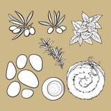 Spa set - basalt stones, massage oil, towel, candles, aromatic salt Stock Photo