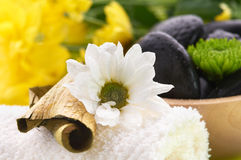 Spa set, black hot stones and towel Stock Photos