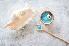 Spa set with blue sea cosmetics for bath and shell on stone background top view mock-up. Spa set with blue sea cosmetics for bath and shell on stone desk Royalty Free Stock Photography