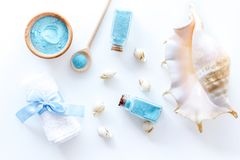 Spa set with blue sea salt for bath and shell white background top view mockup. Spa set with blue sea salt for bath and shell on white background top view mockup Stock Photo
