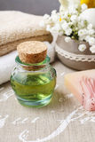 Spa set: bottle of essential oil, soft towels, bar of natural, h Stock Photos