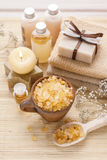Spa set: bowl of sea salt, scented candle and bar of handmade so Stock Photography