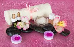 Spa set, candles and towel Royalty Free Stock Image