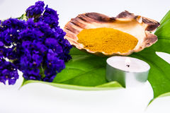 Spa set concept with turmeric powder in seashell decorated with Royalty Free Stock Photos