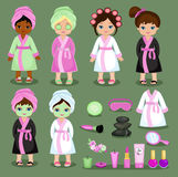 Spa set cute girl in a bathrobe and spa symbols. Stock Photo