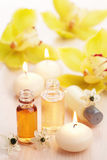 Spa set with essential oils and flowers Stock Image