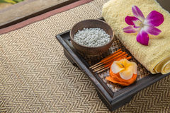 Spa Set. flower Shaped Candles, incense sticks Stock Images
