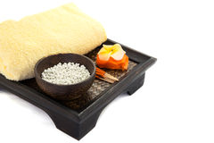 Spa Set. flower Shaped Candles, incense sticks Royalty Free Stock Photography