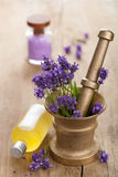 Spa set with fresh lavender Stock Photography