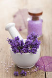 Spa set with fresh lavender Royalty Free Stock Photography